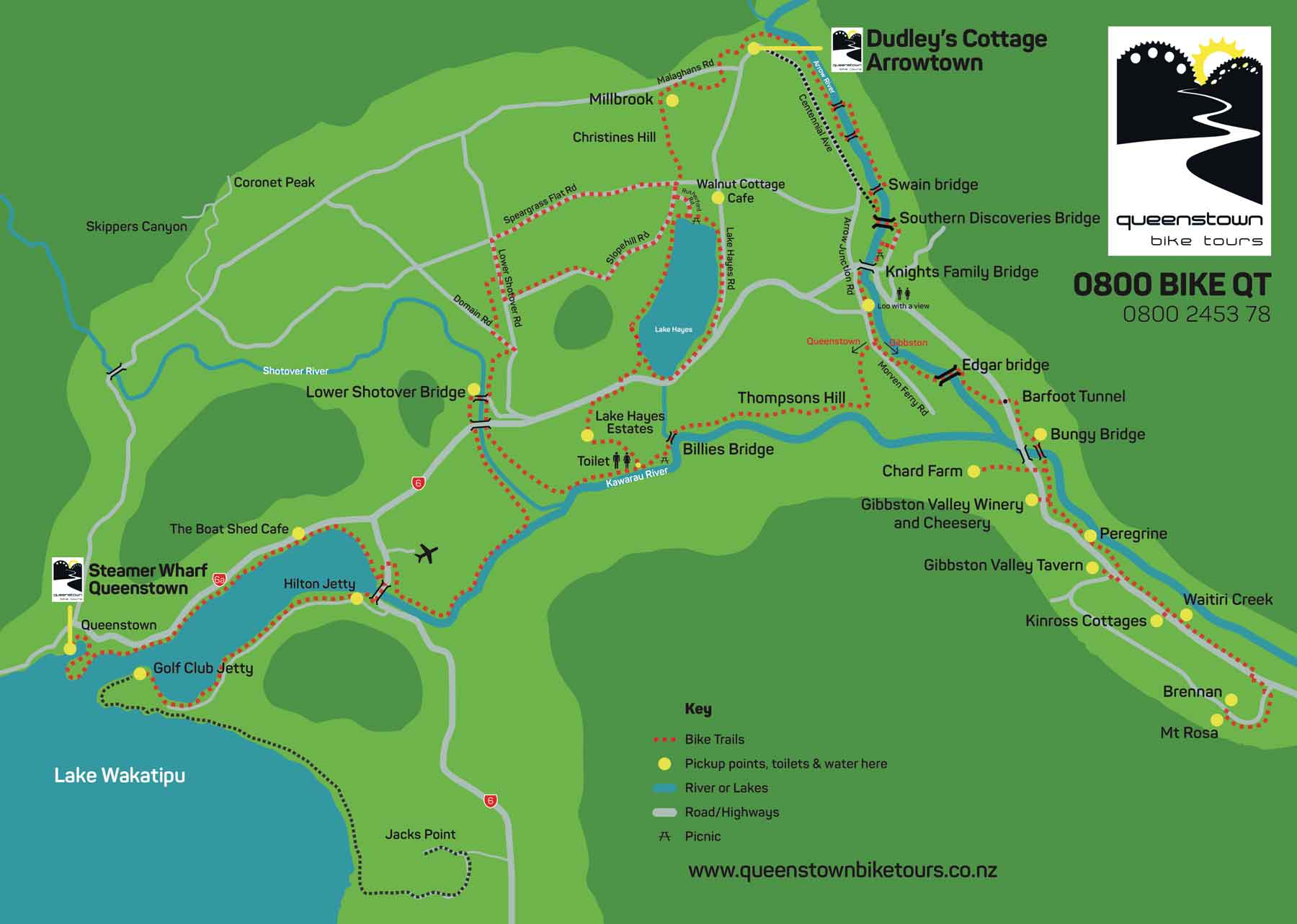 Maps Queenstown Bike Tours